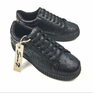 Seven7 Faux Ostrich Leather Platform Sneaker NEW